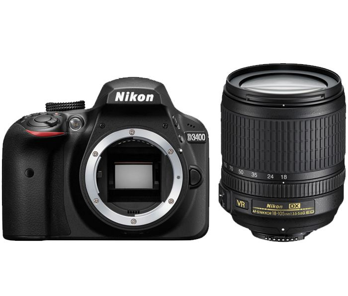 Nikon D3400 Kit AF-S DX 18-105mm f/3.5-5.6G ED VRЛюбительские<br>С цифровой зеркальной фотокамерой D3400 вы можете с необычайной легкостью снимать высококачественные изображения и обмениваться ими. Приложение Nikon SnapBridge? позволяет подключить фотокамеру к интеллектуальному устройству с помощью интерфейса Bluetooth®? и синхронизировать фотографии непосредственно в процессе съемки. Достаточно взять в руки телефон, и фотографии уже будут на нем, готовые к публикации в социальных сетях — без лишней суеты и ожидания.<br><br>Тип: Цифровая зеркальная фотокамера<br>Формат матрицы: DX<br>Тип матрицы, размер: КМОП: 23,5 x 15,6 мм<br>Эффективное число пикселей: 24,2 млн<br>Процессор (АЦП): EXPEED 4<br>Чувствительность ISO: От 100 до 25 600 единиц ISO с шагом 1 EV.<br>Автофокусировка: Multi-CAM 1000 с определением фазы TTL, 11 точками фокусировки (включая один датчик перекрестного типа)<br>Режим зоны автофокуса: Одноточечная АФ, динамическая АФ, автоматический выбор зоны АФ, 3D слежение (11 точек)<br>Выдержка синхронизации: 1/200 с; синхронизация с затвором при выдержке не короче 1/200 с<br>Режимы съемки: «Покадровая», «Непрерывная», «Тихий затвор», «Автоспуск», «Спуск с задержкой» ML-L3, «Быстрый спуск» ML-L3<br>Контроль экспозиции: P, S, A, M, aвтоматические режимы («Авто»; «Авто [вспышка выключена]»); сюжетные режимы («Портрет»; «Пейзаж»; «Ребенок»; «Спорт»; «Макро»; «Ночной портрет»); режимы спецэффектов («Ночное видение»; «Суперяркие»; «Поп»; «Фотоиллюстрация»; «Эффект игрушечной камеры»; «Эффект миниатюры»; «Выборочный цвет»; «Силуэт»; «Высокий ключ»; «Низкий ключ»)<br>Коррекция экспозиции: От -5 до +5 EV с шагом 1/3 EV<br>Баланс белого: Режимы «Авто», «Лампа накаливания», «Лампа дневного света» (7 типов), «Прямой солнечный свет», «Вспышка», «Облачно», «Тень» и ручная предустановка; для всех режимов, кроме ручной настройки, возможна тонкая настройка<br>Скорость съемки: До 5 к/сек<br>Видеоролики — размер кадра (в пикселях) и частота кадров: 1920 ? 1080, 60p (прогресси