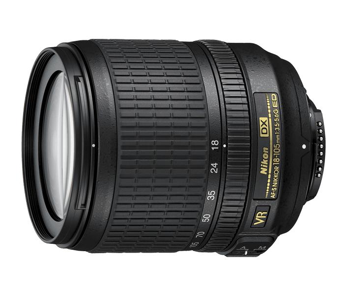 Nikon AF-S DX NIKKOR 18-105mm f/3.5-5.6G ED VRСтандартные<br>Объектив оборудован высококачественной оптикой, предназначенной для использования с цифровыми зеркальными фотокамерами Nikon формата DX, с поддержкой 5,8-кратного увеличения, которое прекрасно подходит для самых разных условий съемки. Оснащенный системой подавления вибраций Nikon (VR) и уникальным бесшумным ультразвуковым мотором (SWM), объектив предоставляет широкие возможности для съемки при недостаточном освещении, обеспечивая стабилизацию изображения, как на матрице, так и в видоискателе, а его система автофокусировки работает быстро и бесшумно.<br><br>Тип: Зум-объектив<br>Цвет: Черный<br>Фокусное расстояние: 18-105 мм (27-158 мм в формате DX)<br>Максимальная диафрагма: 3,5-5,6<br>Минимальная диафрагма: 22-38<br>Подавление вибраций: Да<br>Конструкция объектива: 15 элементов в 11 группах (включая 1 элемент из стекла ED и 1 асферическую линзу)<br>Угол зрения: DX: 76°–15°20'<br>Минимальное расстояние фокусировки: 0,45 м<br>Количество лепестков диафрагмы: 7<br>Установочный размер фильтра: 67 мм<br>Артикул: JAA805DB