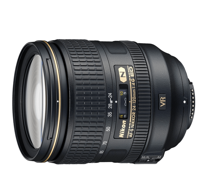 Nikon AF-S NIKKOR 24-120mm f/4G ED VRСтандартные<br>Компактный универсальный зум-объектив с 5-кратным увеличением предназначен для использования с цифровыми зеркальными фотокамерами Nikon формата FX. <br> <br> Оснащен высококачественной оптикой, постоянной диафрагмой f/4 и универсальным фокусным расстоянием 24–120 мм. <br> <br> Система подавления вибраций второго поколения компании Nikon обеспечивает получение резких снимков даже в условиях недостаточного освещения, а нанокристаллическое покрытие Nano Crystal Coat существенно уменьшает эффекты двоения изображения и блики. <br> <br> Прекрасное соотношение цены и качества для людей, серьезно занимающихся фотографией.<br><br>Тип: Зум-объектив<br>Фокусное расстояние: 24-120 мм (36-180 мм в формате DX)<br>Максимальная диафрагма: 4<br>Минимальная диафрагма: 22<br>Подавление вибраций: Да<br>Конструкция объектива: 17 элементов в 13 группах (включая 2 элемента из стекла ED, 3 асферические линзы и нанокристаллическое покрытие Nano Crystal Coat)<br>Угол зрения: FX: 84°–20°20', DX: 61°–13°20'<br>Минимальное расстояние фокусировки: 0,45 м<br>Количество лепестков диафрагмы: 9<br>Установочный размер фильтра: 77 мм<br>Артикул: JAA811DA