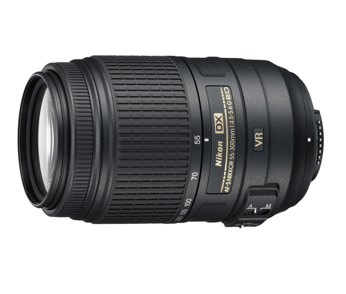 Nikon AF-S DX NIKKOR 55-300mm f/4.5-5.6G VRТелеобъективы<br>Мощный зум-объектив с телескопическим фокусным расстоянием для использования с цифровыми зеркальными фотокамерами Nikon формата DX. Предназначен для упрощения макросъемки благодаря 5,5-кратному увеличению и универсальному фокусному расстоянию 55–300 мм. Система подавления вибраций второго поколения компании Nikon обеспечивает получение резких снимков даже при ручной съемке. <br><br><br> Этот объектив с великолепным соотношением цены и качества идеально подходит для начинающих пользователей цифровых зеркальных фотокамер, а также для более опытных фотографов, которым требуется дополнительный объктив для увеличения диапазона зума.<br><br>Тип: Зум-объектив<br>Цвет: Черный<br>Фокусное расстояние: 55-300 мм (83-450 мм в формате DX)<br>Максимальная диафрагма: 4,5-5,6<br>Минимальная диафрагма: 22-29<br>Подавление вибраций: Да<br>Конструкция объектива: 17 элементов в 11 группах (включая 2 элемента из стекла ED и 1 элемент HRI)<br>Угол зрения: DX: 28°50'–5°20'<br>Минимальное расстояние фокусировки: 1,4 м<br>Количество лепестков диафрагмы: 9<br>Установочный размер фильтра: 58 мм<br>Артикул: JAA814DA