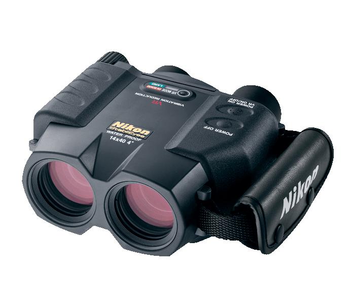 Nikon Бинокль StabilEyes 14x40Бинокли со стабилизацией<br>Бинокль со стабилизацией изображения. <br> <br> Система подавления вибраций повышает стабильность изображения и удобство пользования биноклем при его сотрясении или вибрации.<br><br>Тип: Бинокль StabilEyes<br>Диаметр объектива (мм): 40<br>Влагозащищенность: Да<br>Увеличение (x): 14<br>Выходной зрачок (мм): 2.9<br>Вынос точки визирования (мм): 13<br>Относительная яркость: 8.4<br>Минимальное расстояние фокусировки (м): 5<br>Реальный угол зрения (°): 4<br>Регулировка расстояния между центрами окуляров (мм): 60-70<br>Тип призмы: Перископ<br>Питание: DC 6V (тип AA) х 4 шт<br>Артикул: BAA620EA