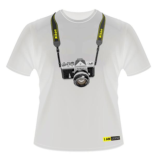 Nikon Футболка с фотоаппаратом  F (белая)