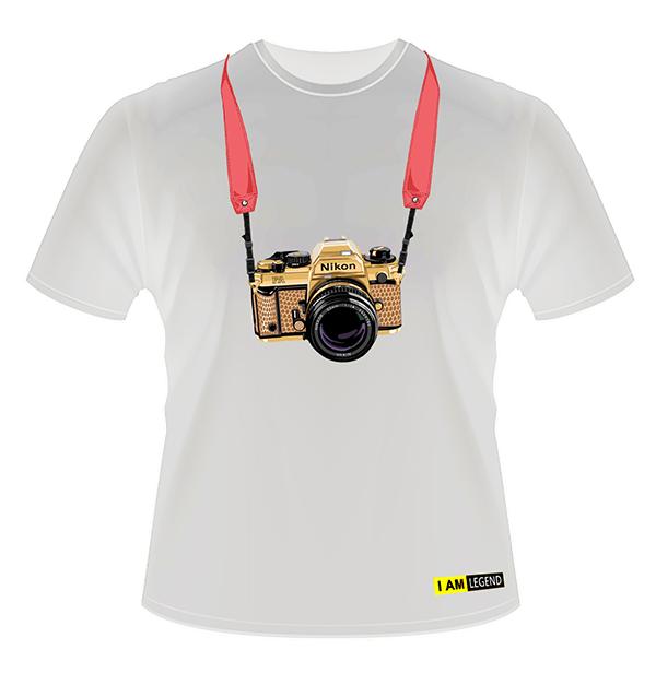 Nikon Футболка с фотоаппаратом  FA (белая)
