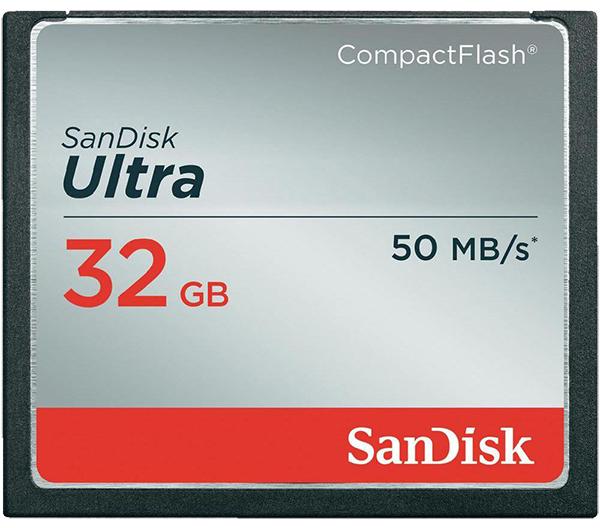 Nikon 32GB карта памяти Sandisk Ultra CF 50MB/s 300xКарты памяти<br>Карта памяти SanDisk Ultra CompactFlash<br><br><br><br><br> Высокая скорость передачи данных и стабильная производительность карт памяти SanDisk Ultra CompactFlash помогают полностью раскрыть потенциал фотоаппаратов, видеокамер и других устройств, рассчитанных на карты памяти CompactFlash.  <br><br><br><br><br> Скорость передачи данных до 50 МБ/с*для максимально быстрой работы<br><br><br><br><br> Идеальные карты памяти для видеокамер и компактных фотоаппаратов среднего класса<br><br><br><br><br> Высокая скорость записи сокращает паузы между кадрами<br><br><br><br><br> Поддержка видеозаписи в формате Full HD*.<br><br>Тип: Compact Flash<br>Артикул: SDCFHS-032G-G46