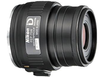 Nikon Окуляр к EDG FEP-75WОкуляры<br>Обеспечивает получение ярких, высококачественных изображений с 75-кратным увеличением при прикреплении к зрительной трубе модели EDG с объективом диаметром 85 мм и 60-кратным увеличением при прикреплении к модели с объективом диаметром 65 мм. Оснащен креплением байонетного типа с фиксацией для быстрого и надежного прикрепления к зрительной трубе и поворотно-выдвижным наглазником, позволяющим удобно расположить правильную точку фокуса видоискателя относительно глаз.<br><br><br> Увеличение: 75-кратное при прикреплении к зрительной трубе EDG 85 и 60-кратное при прикреплении к зрительной трубе EDG 65.<br><br><br> Байонет с блокировкой обеспечивает быстрое и надежное прикрепление.<br><br><br> Линзы с многослойным покрытием уменьшают внутренние отражения и блики, обеспечивая превосходное пропускание света и получение резкого, высококачественного изображения.<br><br><br> Асферические элементы объектива обеспечивают получение ярких, высококачественных изображений с прекрасным цветовым балансом и минимальным искажением.<br><br><br> Водозащита (до 2 м в течение 10 минут) и защита от запотевания с применением уплотнительных колец и азота.<br><br><br> Поворотно-выдвижной наглазник с фиксируемыми положениями позволяет удобно расположить правильную точку фокуса видоискателя относительно глаз.<br><br><br> Вынос выходного зрачка: 17 мм.<br><br><br> Обеспечивается совместимость со специальными переходниками байонета окуляра зрительной трубы FEP.<br><br><br> Предназначен для цифроскопии с определенными фотокамерами Nikon COOLPIX.<br><br>Тип: Окуляр к зрительной трубе<br>Артикул: BDB804AA