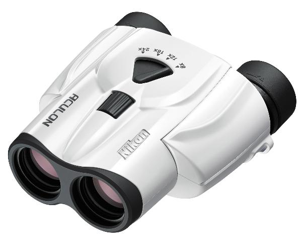 Nikon Бинокль Aculon T11 8-24x25 белыйБинокли компактные<br>Компактный универсальный бинокль с панкратическим увеличением от 8- до 24-кратного, диаметром объектива 25 мм и сверхплавной регулировкой увеличения. <br><br><br> Линзы Nikon с многослойным просветляющим покрытием обеспечивают высокую четкость и яркость из...<br><br>Тип: Бинокль Aculon<br>Диаметр объектива (мм): 25<br>Влагозащищенность: Нет<br>Увеличение (x): от 8 до 24<br>Выходной зрачок (мм): 3,1 (при 8x увеличении)<br>Вынос точки визирования (мм): 13<br>Относительная яркость: 9,6 (при 8x увеличении)<br>Минимальное расстояние фокусировки (м): 4<br>Реальный угол зрения (°): 4,6 (при 8x увеличении)<br>Регулировка расстояния между центрами окуляров (мм): 56-72<br>Тип призмы: Roof<br>Питание: Нет<br>Цвет корпуса: Белый