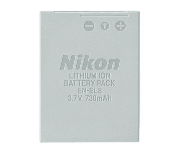 Nikon Батарея EN-EL8Питание фотокамер<br>Компактный и тонкий литий-ионный аккумулятор EN-EL8 предназначен для использования в совместимых с ним фотокамерах COOLPIX. Запас энергии свежезаряженного аккумулятора обеспечивает съемку приблизительно 200 фотографий.<br> <br> Тип Li-lon.<br> Емкость 730 mAh.<br> Номинальное напряжение 3,7 V.<br> Заряжается при помощи зарядного устройства MH-62<br> <br> Применяется для фотокамер: Coolpix S1, Coolpix S2, Coolpix S3, Coolpix S5, Coolpix S6, Coolpix 7c, Coolpix S9, Coolpix S50, Coolpix S50c, Coolpix S51, Coolpix S51c, Coolpix S52, Coolpix S52c, Coolpix P1, Coolpix P2<br><br>Тип: Литий-ионная аккумуляторная батарея<br>Артикул: VAW18201