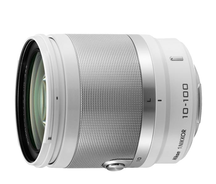 Nikon  1 NIKKOR VR 10-100mm f/4.0-5.6 БелыйТелеобъективы<br>Многоцелевой и достаточно портативный, чтобы его можно было повсюду брать с собой, объектив 1 NIKKOR VR 10–100 мм можно с легкостью использовать в любой ситуации — от съемки портретов крупным планом до съемки спортивных мероприятий на расстоянии.<br> <br>...<br><br>Тип: Зум-объектив<br>Фокусное расстояние: 10-100 мм (27–270 мм в формате 35 мм)<br>Максимальная диафрагма: 4–5,6<br>Минимальная диафрагма: 16<br>Подавление вибраций: Да<br>Конструкция объектива: 19 элементов в 12 группах (в частности, 3 асферические линзы, 2 элемента из стекла ED и элементы HRI)<br>Угол зрения: СX: 77°–9°10?<br>Минимальное расстояние фокусировки: 10 мм: 0,35 м; 60 мм: 1 м; 100 мм: 0,65 м<br>Количество лепестков диафрагмы: 7<br>Установочный размер фильтра: 55 мм<br>Цвет корпуса: Белый