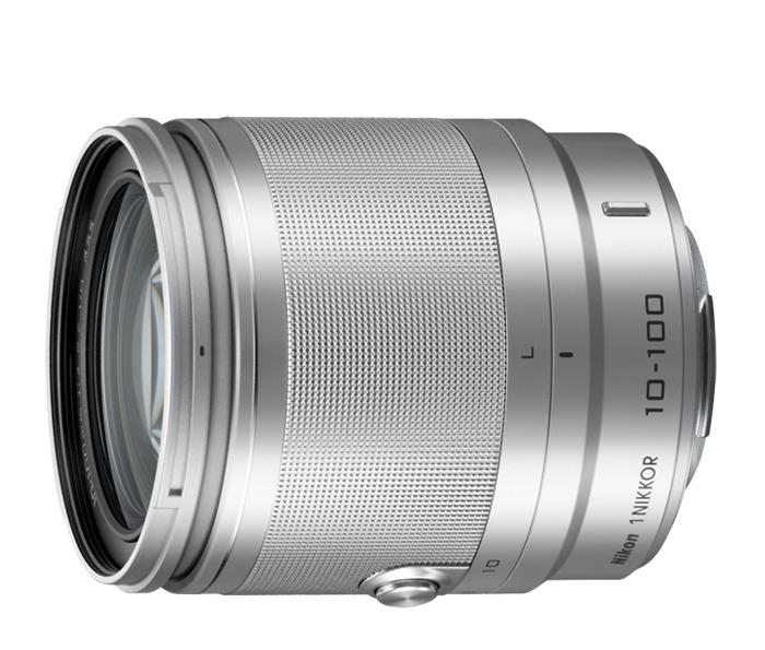 Nikon  1 NIKKOR VR 10-100mm f/4.0-5.6 СеребристыйТелеобъективы<br>Многоцелевой и достаточно портативный, чтобы его можно было повсюду брать с собой, объектив 1 NIKKOR VR 10–100 мм можно с легкостью использовать в любой ситуации — от съемки портретов крупным планом до съемки спортивных мероприятий на расстоянии.<br> <br>...<br><br>Тип: Зум-объектив<br>Фокусное расстояние: 10-100 мм (27–270 мм в формате 35 мм)<br>Максимальная диафрагма: 4–5,6<br>Минимальная диафрагма: 16<br>Подавление вибраций: Да<br>Конструкция объектива: 19 элементов в 12 группах (в частности, 3 асферические линзы, 2 элемента из стекла ED и элементы HRI)<br>Угол зрения: СX: 77°–9°10?<br>Минимальное расстояние фокусировки: 10 мм: 0,35 м; 60 мм: 1 м; 100 мм: 0,65 м<br>Количество лепестков диафрагмы: 7<br>Установочный размер фильтра: 55 мм<br>Цвет корпуса: Серебристый