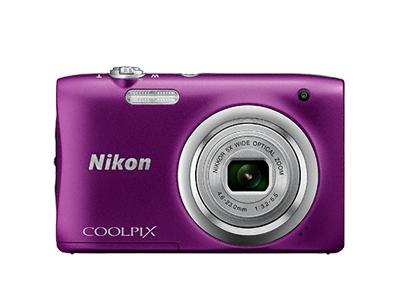 Nikon Coolpix A100 фиолетовыйСерия Style<br>Ваши снимки будут незабываемыми благодаря 20,1-мегапиксельной ПЗС-матрице, а объектив NIKKOR с 5-кратным оптическим зумом (расширяемый до 10-кратного с помощью функции Dynamic Fine Zoom?) поможет создавать великолепные портреты друзей и родных кру...<br><br>Тип: Компактная цифровая фотокамера<br>Формат матрицы: 1/2,3 дюйма<br>Тип матрицы, размер: ПЗС: прибл. 6,2 x 4,6 мм<br>Эффективное число пикселей: 20 млн<br>Процессор (АЦП): EXPEED C2<br>Чувствительность ISO: 80-1600 единиц ISO. 3200 единиц ISO (доступна при использовании «Авто режима»)<br>Автофокусировка: АФ с функцией определения контраста<br>Режим зоны автофокуса: Приоритет лица, по центру, ручной с 99 зонами фокусировки, ведение объекта, АФ с обнаружением объекта<br>Выдержка синхронизации: До 1/2000 (электронный затвор)<br>Контроль экспозиции: 16 сюжетных режимов<br>Коррекция экспозиции: От ?2 до +2 EV с шагом 1/3<br>Видеоролики — размер кадра (в пикселях) и частота кадров: 1280 x 720 30 к/сек; AVI (совместимые с Motion-JPEG)<br>Видеоролики — устройство записи звука: Встроенный микрофон<br>Монитор: ЖК-монитор TFT с диагональю 6,7 см, разрешением прибл. 230 тыс. точек и 5-уровневой регулировкой яркости<br>Носители данных: Карта памяти SD/SDHC/SDXC<br>Коммуникационные функции: Нет<br>Горячий башмак: Нет<br>Формат файлов для хранения: Снимки: JPEG.<br>Выдержка: От 1/2000 до 1 с, 4 с (при установленном сюжетном режиме «Фейерверк»)<br>Встроенная вспышка: [W]: 0,5-4,0 м. [T]: 0,8-2,0 м<br>Видоискатель: Нет<br>Диоптрийная настройка: Нет<br>Покрытие кадра: Прибл. 98%<br>Год выпуска: С 2016<br>Объектив: 4,6-23,0 мм f/3,2-6,5 (x5)<br>Фокусное расстояние: 4,6-23,0 мм (26-130 мм в формате 35 мм)<br>Максимальная диафрагма: 3,2-6,5<br>Минимальная диафрагма: 8<br>Подавление вибраций: Да (электронный)<br>Ресурс работы батареи: Прибл. 250 снимков/1 ч 5 мин<br>Питание: EN-EL19<br>Цвет корпуса: Фиолетовый