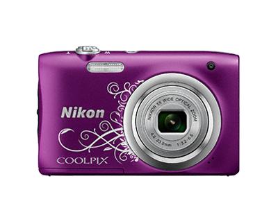 Nikon Coolpix A100 фиолетовый с рисункомСерия Style<br>Ваши снимки будут незабываемыми благодаря 20,1-мегапиксельной ПЗС-матрице, а объектив NIKKOR с 5-кратным оптическим зумом (расширяемый до 10-кратного с помощью функции Dynamic Fine Zoom?) поможет создавать великолепные портреты друзей и родных кру...<br><br>Тип: Компактная цифровая фотокамера<br>Формат матрицы: 1/2,3 дюйма<br>Тип матрицы, размер: ПЗС: прибл. 6,2 x 4,6 мм<br>Эффективное число пикселей: 20 млн<br>Процессор (АЦП): EXPEED C2<br>Чувствительность ISO: 80-1600 единиц ISO. 3200 единиц ISO (доступна при использовании «Авто режима»)<br>Автофокусировка: АФ с функцией определения контраста<br>Режим зоны автофокуса: Приоритет лица, по центру, ручной с 99 зонами фокусировки, ведение объекта, АФ с обнаружением объекта<br>Выдержка синхронизации: До 1/2000 (электронный затвор)<br>Контроль экспозиции: 16 сюжетных режимов<br>Коррекция экспозиции: От ?2 до +2 EV с шагом 1/3<br>Видеоролики — размер кадра (в пикселях) и частота кадров: 1280 x 720 30 к/сек; AVI (совместимые с Motion-JPEG)<br>Видеоролики — устройство записи звука: Встроенный микрофон<br>Монитор: ЖК-монитор TFT с диагональю 6,7 см, разрешением прибл. 230 тыс. точек и 5-уровневой регулировкой яркости<br>Носители данных: Карта памяти SD/SDHC/SDXC<br>Коммуникационные функции: Нет<br>Горячий башмак: Нет<br>Формат файлов для хранения: Снимки: JPEG.<br>Выдержка: От 1/2000 до 1 с, 4 с (при установленном сюжетном режиме «Фейерверк»)<br>Встроенная вспышка: [W]: 0,5-4,0 м. [T]: 0,8-2,0 м<br>Видоискатель: Нет<br>Диоптрийная настройка: Нет<br>Покрытие кадра: Прибл. 98%<br>Год выпуска: С 2016<br>Объектив: 4,6-23,0 мм f/3,2-6,5 (x5)<br>Фокусное расстояние: 4,6-23,0 мм (26-130 мм в формате 35 мм)<br>Максимальная диафрагма: 3,2-6,5<br>Минимальная диафрагма: 8<br>Подавление вибраций: Да (электронный)<br>Ресурс работы батареи: Прибл. 250 снимков/1 ч 5 мин<br>Питание: EN-EL19<br>Цвет корпуса: Фиолетовый с рисунком