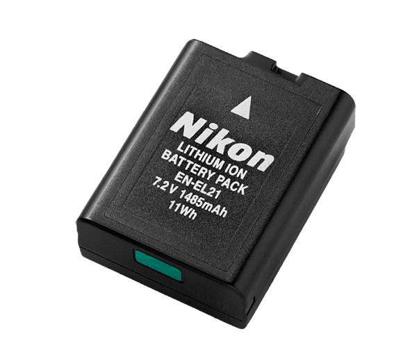 Nikon Батарея EN-EL21Питание фотокамер<br>Литий-ионная аккумуляторная батарея большой емкости для использования с определенными моделями фотокамер Nikon 1. <br><br>Зарядку этой аккумуляторной батареи можно осуществлять с помощью совместимого зарядного устройства. <br><br>Тип Li-lon. <br>Емкость 1485 mAh. <br>Номинальное напряжение 7,2 V. <br>Заряжается при помощи зарядного устройства MH-28 <br><br>Используется с фотокамерой: Nikon 1 V2<br><br>Тип: Литий-ионная аккумуляторная батарея<br>Артикул: VFB11301