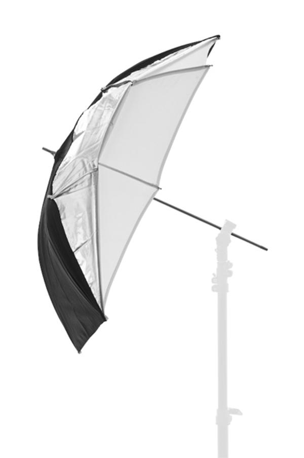 Nikon Lastolite Фотозонт черный/серебристый/белый 72смСофтбоксы и рассеиватели<br>Комбинированный<br>зонт белый на просвет, серебряный или белый на отражение. Спицы зонтика скрыты<br>в ткани. Зонтик имеет 8-мм основание (вал).<br><br>Тип: Фотозонт<br>Артикул: 84265