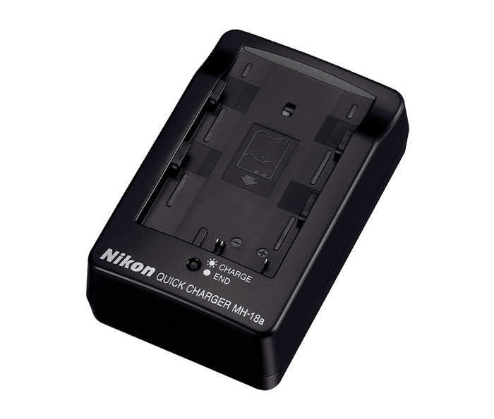 Nikon Зарядное устройство MH-18aПитание фотокамер<br>Зарядное устройство MH-18a предназначено для зарядки литий-ионных аккумуляторных батарей Nikon EN-EL3e. <br> <br><br><br> Применяется для зеркальных фотокамер: D100, D50, D70, D70s, D200, D300, D700, D80, D90<br><br>Тип: Быстрое зарядное устройство<br>Артикул: VAK146EA