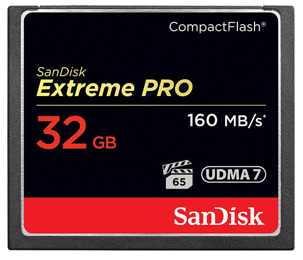 Nikon 32GB карта памяти Sandisk Extreme PRO CF 160MB/s 1000xКарты памяти<br>Карты памяти SanDisk Extreme PRO CompactFlash представляют собой высокопроизводительные устройства большой емкости, рассчитанные на съемку кинематографического видео. Скорость передачи данных до 160 МБ/с обеспечивает высокую производительность и эффективность, которые следует ожидать от продукции мирового лидера в сфере флеш-памяти*. Эти передовые карты памяти оптимизированы для профессиональной видеосъемки и гарантируют минимальную устойчивую скорость записи 65 МБ/с для съемки видео в форматах 4K и Full HD. Емкости до 256 ГБ достаточно для хранения нескольких часов видео и тысяч изображений высокого разрешения. Чтобы вы не упустили ни одного важного момента, мы сделали эту карту памяти невосприимчивой к экстремальным температурам, ударам и другим испытаниям судьбы.<br><br><br><br><br>Созданы для профессиональных видеооператоров и фотографов<br>Оптимизированы для видеосъемки в формате 4K*<br>Скорость передачи данных до 160 МБ/с<br>Запись со скоростью до 150 МБ/с<br>VPG-65: устойчивая скорость записи 65 МБ/с*<br>Емкость до 256 ГБ для хранения нескольких часов видео*<br><br><br><br><br> * Подробная информация указана на сайте www.ru.sandisk.com<br><br>Тип: Compact Flash<br>Артикул: SDCFXPS-032G-X46