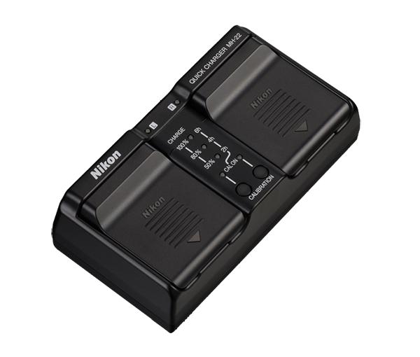 Nikon Зарядное устройство MH-22(E)Питание фотокамер<br>Быстрое зарядное устройство для специальных аккумуляторных батарей Nikon EN-EL4, EN-EL4a <br><br><br>Оснащено функцией калибровки аккумуляторной батареи и светодиодными индикаторами состояния заряда батарей. К устройству можно подключить две батареи. <br><br><br>Питание: переменный ток 100–240 В, 50–60 Гц. <br>Размеры (ШxВxГ): 160x50x85 мм. <br>Масса: 260 г. <br><br><br>Совместимо с: D3, D3X<br><br>Тип: Быстрое зарядное устройство<br>Артикул: VAK165EA