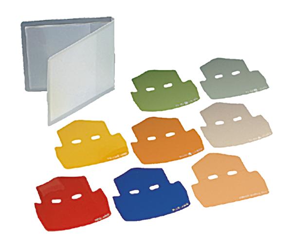 Nikon Набор цветных желатиновых фильтров SJ-1 для SB800Насадки и фильтры<br>8 Цветных фильтров для коррекции цвета. Легко ставится на вспышку без каких-либо дополнительных средств и приспособлений. Для ламп дневного света (флюоресцентных) и ламп накаливания. Предназначен для коррекции баланса белого. <br><br><br>Набор цветных желатиновых фильтров SJ-1 применяются в вспышке SB-800.<br><br>Тип: Фильтр для вспышки<br>Артикул: FSW53701