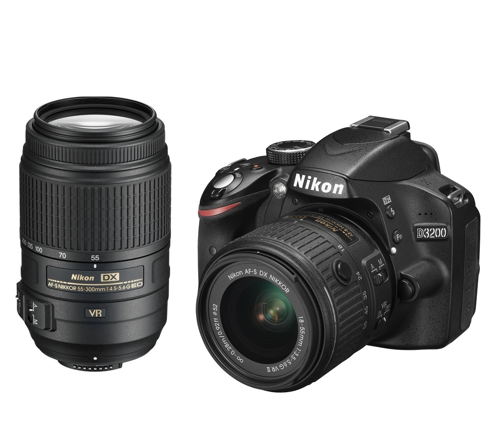 Nikon D3200 + 18-55mm VR II + 55-300VR KITЛюбительские<br>Эта зеркальная фотокамера, оснащенная КМОП-матрицей с разрешением 24,2 мегапикселя и мощной системой обработки изображений EXPEED 3 от Nikon, обеспечивает создание выдающихся снимков и D-видео стандарта Full HD. <br> <br> Режим справки Nikon позволяет легко начать съемку великолепных изображений, выполнив несколько простых действий. С помощью образцов изображений и четких инструкций вы можете снять высококачественные снимки и видеоролики, о которых всегда мечтали. <br> <br> Фотокамера D3200 — это фантастический способ запечатлеть мгновения жизни с богатейшей детализацией. Изображения даже можно отправлять непосредственно с фотокамеры на интеллектуальное устройство* для мгновенного обмена снимками и видеороликами.<br><br>Формат матрицы: DX<br>Тип матрицы, размер: КМОП: 23,2 x 15,4 мм<br>Эффективное число пикселей: 24,2 млн<br>Процессор (АЦП): EXPEED 3<br>Чувствительность ISO: От 100 до 6400 единиц ISO с шагом 1 EV; можно установить значение приблизительно на 1 EV выше 6400 единиц ISO (эквивалентно 12 800 единицам ISO)<br>Автофокусировка: Multi-CAM 1000 с TTL определением фазы, 11 точками фокусировки (включая один датчик перекрестного типа)<br>Режим зоны автофокуса: Одноточечная АФ, динамическая АФ, автоматический выбор зоны АФ, АФ с 3D слежением (11 точек)<br>Выдержка синхронизации: 1/200 с; синхронизация с затвором при выдержке не короче 1/200 с<br>Режимы съемки: Покадровая, непрерывная, автоспуск, дистанционный спуск с задержкой, быстрый дистанционный спуск, тихий затвор<br>Контроль экспозиции: P, S, A, M, aвтоматические режимы («Авто»; «Авто (вспышка выключена»); сюжетные режимы («Портрет»; «Пейзаж»; «Ребенок»; «Спорт»; «Макро»; «Ночной портрет»)<br>Коррекция экспозиции: От -5 до +5 EV с шагом 1/3 EV<br>Баланс белого: Авто, лампа накаливания, лампа дневного света (7 типов), прямой солнечный свет, вспышка, облачно, тень и ручная предустановка; для всех режимов, кроме ручной предустановки, возможна тонкая нас