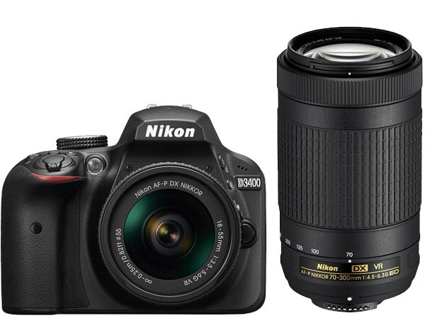 Nikon D3400 Kit AF-P 18-55 VR + AF-P 70-300VRЛюбительские<br>С цифровой зеркальной фотокамерой D3400 вы можете с необычайной легкостью снимать высококачественные изображения и обмениваться ими. Приложение Nikon SnapBridge? позволяет подключить фотокамеру к интеллектуальному устройству с помощью интерфейса Bluetooth®? и синхронизировать фотографии непосредственно в процессе съемки. Достаточно взять в руки телефон, и фотографии уже будут на нем, готовые к публикации в социальных сетях — без лишней суеты и ожидания.  <br> <br> В этом комплекте вас ждёт не только компактный объектив AF-P DX NIKKOR 18-55mm f/3.5–5.6G VR для съёмки на ближней и средней дистанции, но также и универсальный телеобъектив AF-P DX NIKKOR 70-300mm f/4.5-6.3G ED VR, который подойдёт для спортивных соревнований или при съёмке дикой природы!<br><br>Тип: Цифровая зеркальная фотокамера<br>Формат матрицы: DX<br>Тип матрицы, размер: КМОП: 23,5 x 15,6 мм<br>Эффективное число пикселей: 24,2 млн<br>Процессор (АЦП): EXPEED 4<br>Чувствительность ISO: От 100 до 25 600 единиц ISO с шагом 1 EV.<br>Автофокусировка: Multi-CAM 1000 с определением фазы TTL, 11 точками фокусировки (включая один датчик перекрестного типа)<br>Режим зоны автофокуса: Одноточечная АФ, динамическая АФ, автоматический выбор зоны АФ, 3D слежение (11 точек)<br>Выдержка синхронизации: 1/200 с; синхронизация с затвором при выдержке не короче 1/200 с<br>Режимы съемки: «Покадровая», «Непрерывная», «Тихий затвор», «Автоспуск», «Спуск с задержкой» ML-L3, «Быстрый спуск» ML-L3<br>Контроль экспозиции: P, S, A, M, aвтоматические режимы («Авто»; «Авто [вспышка выключена]»); сюжетные режимы («Портрет»; «Пейзаж»; «Ребенок»; «Спорт»; «Макро»; «Ночной портрет»); режимы спецэффектов («Ночное видение»; «Суперяркие»; «Поп»; «Фотоиллюстрация»; «Эффект игрушечной камеры»; «Эффект миниатюры»; «Выборочный цвет»; «Силуэт»; «Высокий ключ»; «Низкий ключ»)<br>Коррекция экспозиции: От -5 до +5 EV с шагом 1/3 EV<br>Баланс белого: Режимы «Авто», «Лампа накаливания», «