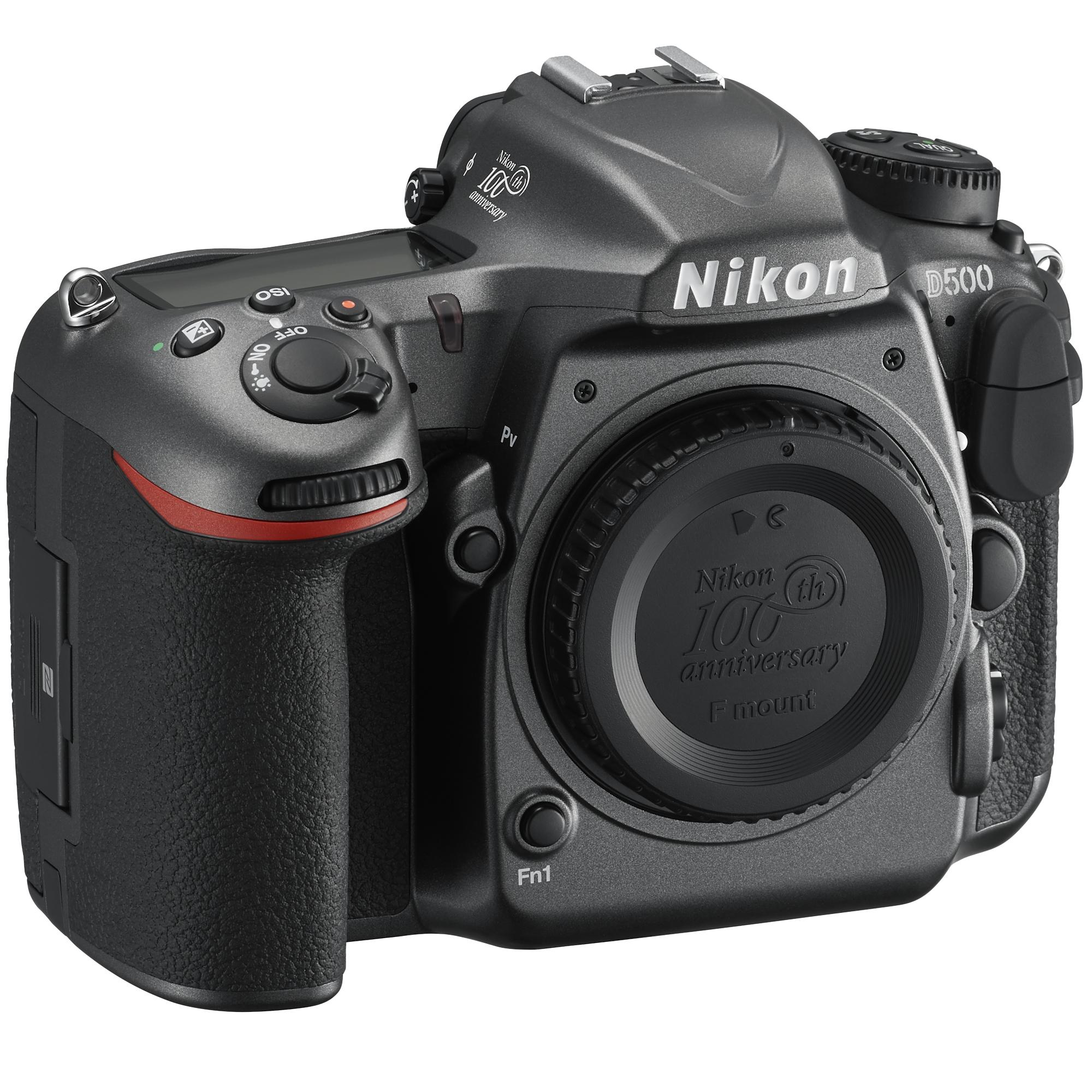 Nikon D500 (без объектива) 100th Anniversary EditionПрофессиональные<br>Фотокамера D500, младшая сестра флагманской модели Nikon D5 формата FX, демонстрирует непревзойденное сочетание мощности и точности. <br><br><br> Разработанная корпорацией Nikon 153-точечная система АФ нового поколения позволяет работать в самых разных условиях съемки. Новая матрица и датчик для замера экспозиции обеспечивают исключительно точное распознавание объектов съемки и деталей изображения. Скорость съемки может составлять до 10 кадров в секунду, а быстрый буфер памяти позволяет снять до 200 изображений в формате NEF (RAW) в одной высокоскоростной серии. Сочетание этих двух факторов означает, что в течение 20 секунд вы можете получать изображения максимального качества. <br><br><br> Для видеооператоров, стремящихся к совершенству, подойдет встроенный режим D-видео, благодаря которому прямо в фотокамере можно записывать видеоролики в формате 4K/UHD длительностью до 29 минут 59 секунд.<br><br>Тип: Цифровая зеркальная фотокамера<br>Формат матрицы: DX<br>Тип матрицы, размер: КМОП: 23,5 x 15,7 мм<br>Эффективное число пикселей: 20,9 млн<br>Процессор (АЦП): EXPEED 5<br>Чувствительность ISO: От 100 до 51 200 единиц ISO; можно также установить значения прибл. на 1 EV ниже 100 (эквивалентно 50 единицам ISO) или значения прибл. на 5 EV выше 51 200 (эквивалентно 1 640 000 единиц ISO); возможность автоматического управления чувствительностью ISO.<br>Автофокусировка: Multi-CAM 20K с определением фазы TTL, тонкой настройкой и 153 точками фокусировки (включая 99 датчиков перекрестного типа; значение f/8 поддерживают 15 датчиков) из которых 55 (35/9) доступны для выбора.<br>Режим зоны автофокуса: Одноточечная АФ, 25-, 72- или 153-точечная динамическая АФ, 3D-слежение, групповая АФ, автоматический выбор зоны АФ.<br>Выдержка синхронизации: 1/250 с (есть высокоскоростная синхронизация)<br>Режимы съемки: S (покадровая съемка), CL (непрерывная низкоскоростная съемка), CH (непрерывная высокоскоростная съемка),