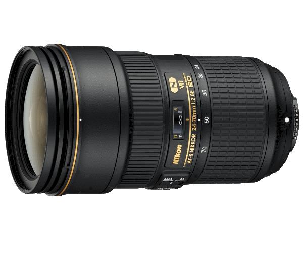 Nikon AF-SNIKKOR 24-70mm f/2.8E ED VRСтандартные<br>Специалисты Nikon усовершенствовали самую популярную профессиональную модель линейки NIKKOR, оснастив ее инновационной оптической конструкцией и эффективной системой подавления вибраций (VR) от компании Nikon. Технология VR позволяет задавать выдержки на четыре ступени длиннее обычных и практически устраняет смазывание, которое может возникать из-за дрожания фотокамеры. Кроме того, благодаря эксклюзивному бесшумному ультразвуковому мотору (SWM), разработанному компанией Nikon, удалось значительно повысить скорость АФ. Объектив заключен в прочный корпус, а на его переднюю и заднюю линзы нанесено фторсодержащее покрытие, которое эффективно защищает конструкцию от попадания воды, пыли и грязи.<br> Объектив AF-S NIKKOR 24–70mm f/2.8E ED VR отвечает всем требованиям современных профессиональных фотографов благодаря своей исключительной функциональности и способности обеспечивать отличное качество изображений.<br><br>Тип: Зум-объектив<br>Объектив: AF-S NIKKOR 24-70mm f/2.8E ED VR<br>Фокусное расстояние: 24-70<br>Максимальная диафрагма: 2,8<br>Минимальная диафрагма: 22<br>Подавление вибраций: Да<br>Конструкция объектива: 20 элементов в 16 группах (включая 2 элемента из стекла ED, 1 асферический элемент из стекла ED, 3 асферические линзы и 1 элемент HRI, а также элементы с нанокристаллическим покрытием и фторсодержащим покрытием)<br>Угол зрения: FX: 84°–34°20, DX: 61°–22°50<br>Минимальное расстояние фокусировки: 0,28 м<br>Количество лепестков диафрагмы: 9<br>Установочный размер фильтра: 82 мм<br>Влагозащищенность: Нет<br>Артикул: JAA824DA