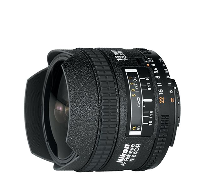 Nikon AF NIKKOR-FISHEYE 16mm f/2.8DСпециальные<br>Превосходные оптические характеристики объектива NIKKOR обеспечивают неизменную резкость при фокусировке как на бесконечность, так и на близко расположенный объект. Объектив создает уникальную измененную реальность сверхширокоугольной фотосъемки, изображения получаются красивыми и впечатляющими. Четыре фильтра байонетного типа, прикрепляемые к задней стороне объектива, дополняют творческие возможности своими эффектами.<br><br>Тип: С фиксированным фокусным расстоянием<br>Объектив: AF NIKKOR-FISHEYE 16mm f/2.8D<br>Фокусное расстояние: 16 мм (24 мм в формате DX)<br>Максимальная диафрагма: 2.8<br>Минимальная диафрагма: 22<br>Подавление вибраций: Нет<br>Конструкция объектива: 8 элементов в 5 группах<br>Угол зрения: FX: 180°, DX: 107°<br>Минимальное расстояние фокусировки: 0,25 м<br>Количество лепестков диафрагмы: 7<br>Установочный размер фильтра: Заднее крепление<br>Влагозащищенность: Нет<br>Артикул: JAA626DA